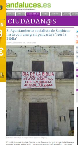 Ayuntamiento de Sanlúcar de Barrameda invita a leer la Biblia: Fuente: andaluces.es