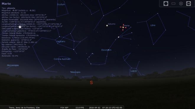 Cielo de Abril en Jerez a las 7 de la mañana. Imagen capturada con la aplicación Stellarium.