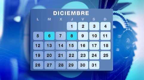 Calendario de Diciembre de 2016. Mes con fiestas civiles y religiosas cercanas. Fuente: RTVE